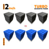 Turbo Acoustic Foam Panel, (Black + Blue), Set of 72 pcs