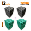 Turbo Acoustic Foam Panel, (Black + Green), Set of 36 pcs