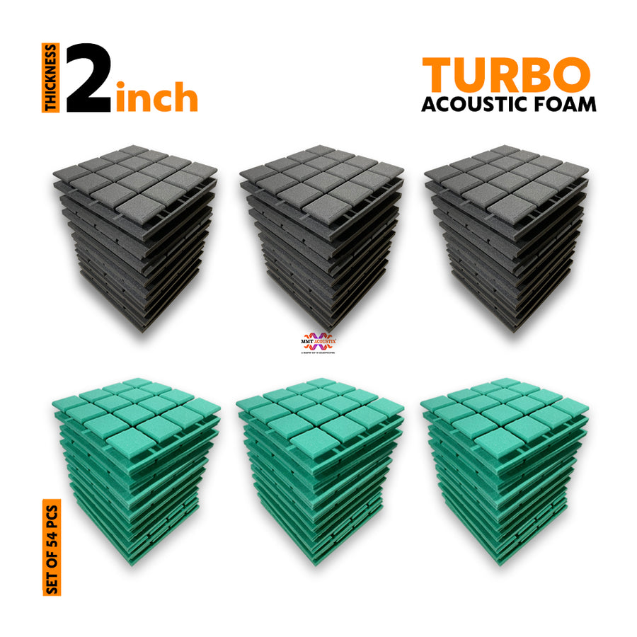Turbo Acoustic Foam Panel, (Black + Green), Set of 54 pcs