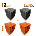 Turbo Acoustic Foam Panel, (Black + Orange), Set of 36 pcs
