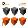 Turbo Acoustic Foam Panel, (Black + Orange), Set of 54 pcs