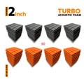 Turbo Acoustic Foam Panel, (Black + Orange), Set of 72 pcs