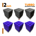 Turbo Acoustic Foam Panel, (Black + Purple), Set of 54 pcs