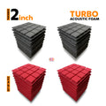 Turbo Acoustic Foam Panel, (Black + Red), Set of 36 pcs