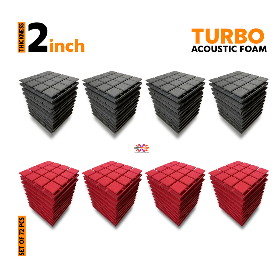 Turbo Acoustic Foam Panel, (Black + Red), Set of 72 pcs