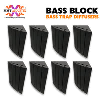 """MMT Acoustix® Bass Block Bass Trap Absorber   Corner Bass Trap for low frequency   24""""x12""""x12"""", Pro Charcoal   NRC > 2.47   Set of 8 Pcs"""