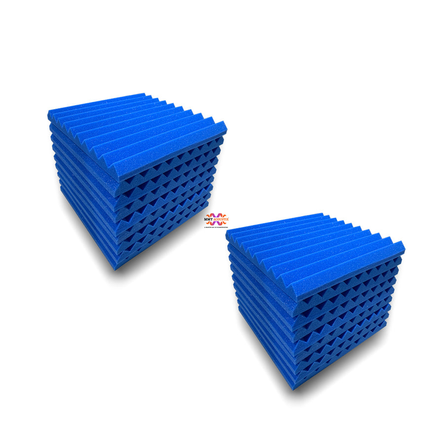 "Wedge Acoustic Foam Panel, European Blue, 1"" Set of 18 pcs"