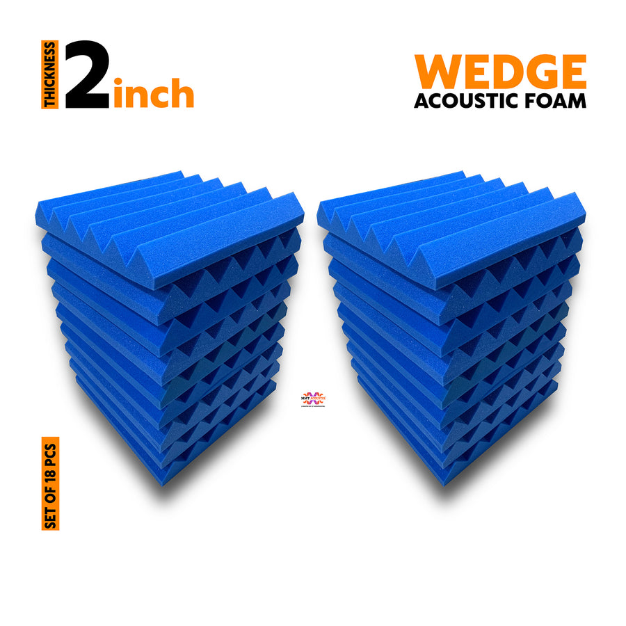 Wedge Acoustic Foam Panel, European Blue, Set of 18 pcs