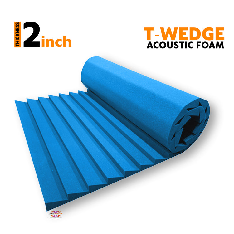 T - Wedge Acoustic Foam Panel, European Blue, 6'x3'
