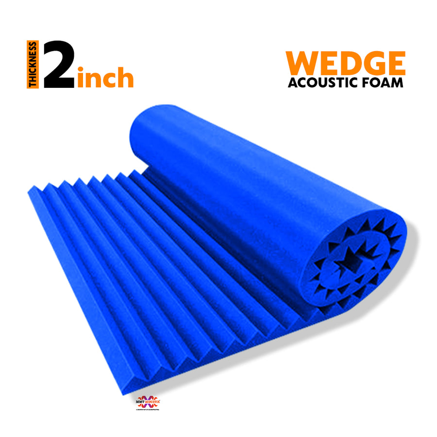 Wedge Acoustic Foam Panel, European Blue, 6'x3'