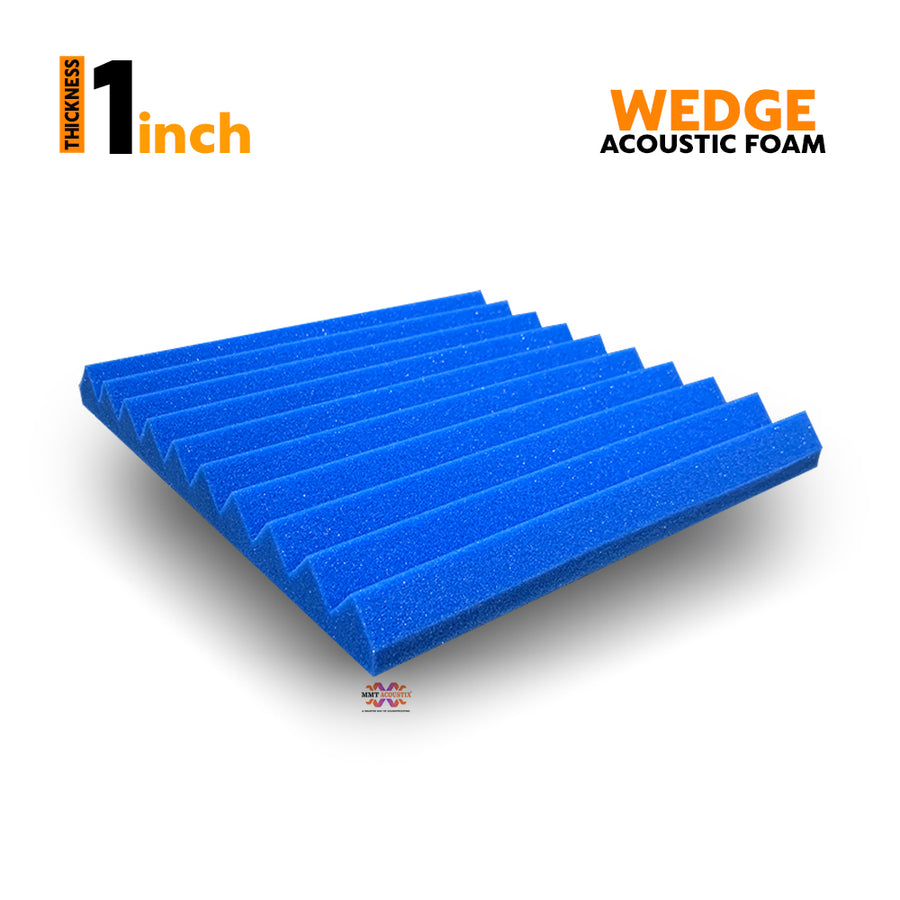 "Wedge Acoustic Foam Panel, European Blue, 1"" Set of 9 pcs"