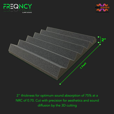 "FREQNCY® by MMT Acoustix® 6x3ft, 2"" Wedge Soundproofing Acoustic Foam (Professional Charcoal) - 1 sheet of 6x3ft"