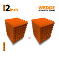 Wedge Acoustic Foam Panel, MMT Orange, Set of 18 pcs