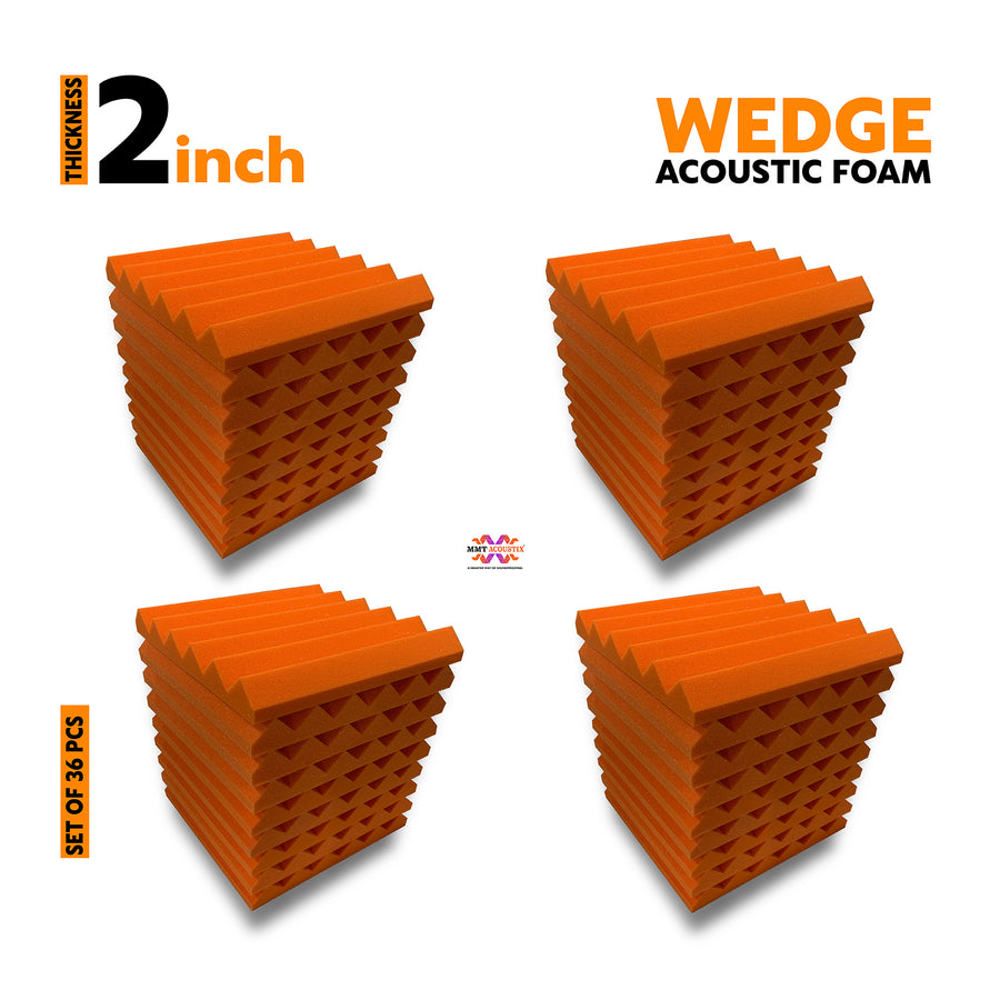 Wedge Acoustic Foam Panel, MMT Orange, Set of 36 pcs