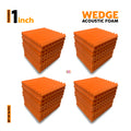"Wedge Acoustic Foam Panel, MMT Orange, 1"" Set of 36 pcs"