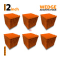 Wedge Acoustic Foam Panel, MMT Orange, Set of 54 pcs