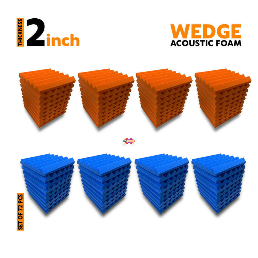 Wedge Acoustic Foam Panel, (Orange + Blue), Set of 72 pcs