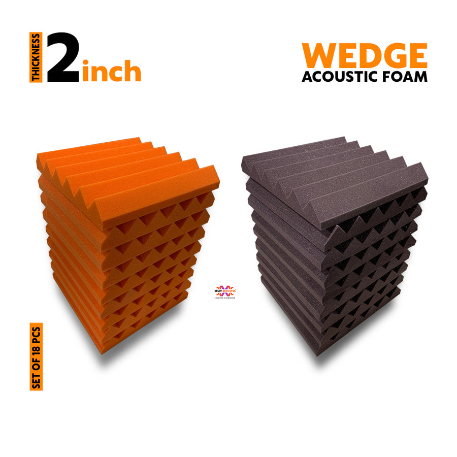 Wedge Acoustic Foam Panel, (Orange + Wine), Set of 18 pcs
