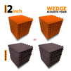 Wedge Acoustic Foam Panel, (Orange + Wine), Set of 36 pcs