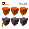 Wedge Acoustic Foam Panel, (Orange + Wine), Set of 54 pcs