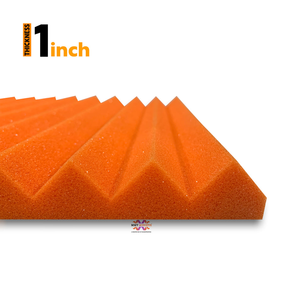 "Wedge Acoustic Foam Panel, MMT Orange, 1"" Set of 72 pcs"