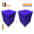 Wedge Acoustic Foam Panel, Studio Purple, Set of 18 pcs