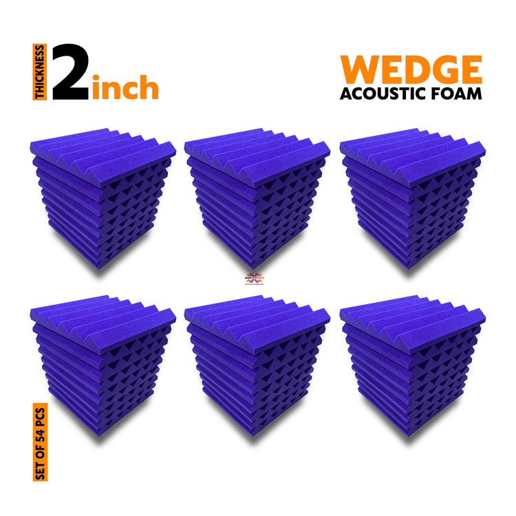 Wedge Soundproofing Acoustic Foam Panel, 54 Pcs. (1x1 Feet, Purple)