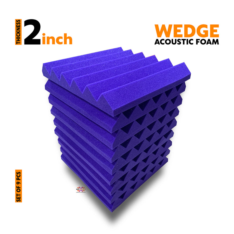 Wedge Acoustic Foam Panel, Studio Purple, Set of 9 pcs