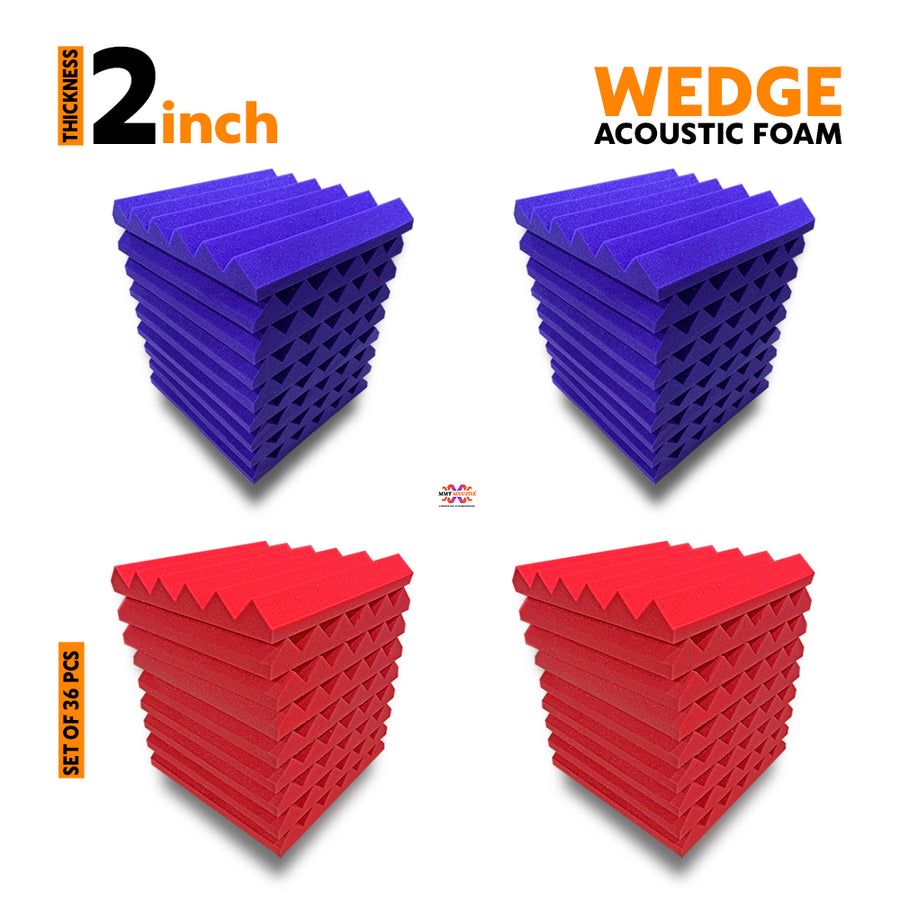 Wedge Acoustic Foam Panel, (Purple + Red), Set of 36 pcs
