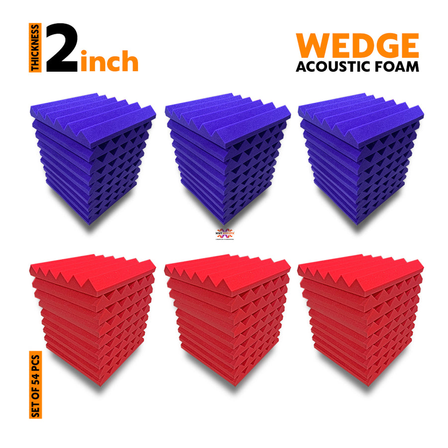 Wedge Acoustic Foam Panel, (Purple + Red), Set of 54 pcs