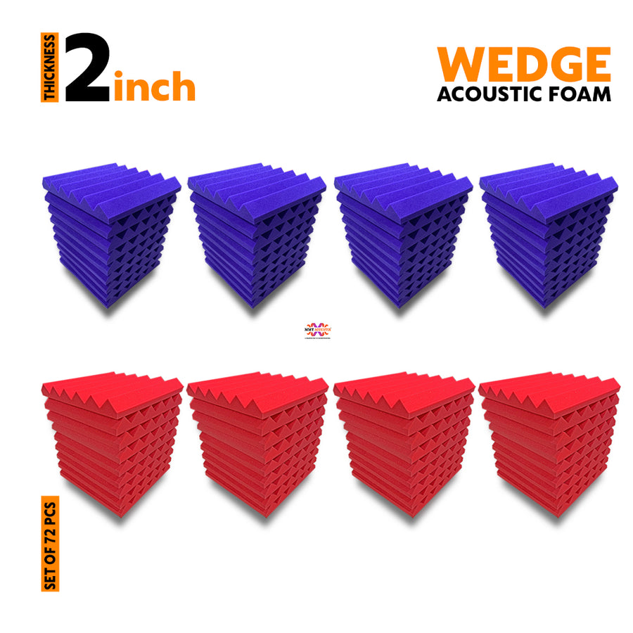 Wedge Acoustic Foam Panel, (Purple + Red), Set of 72 pcs