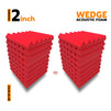 Wedge Acoustic Foam Panel, Flame Red, Set of 18 pcs
