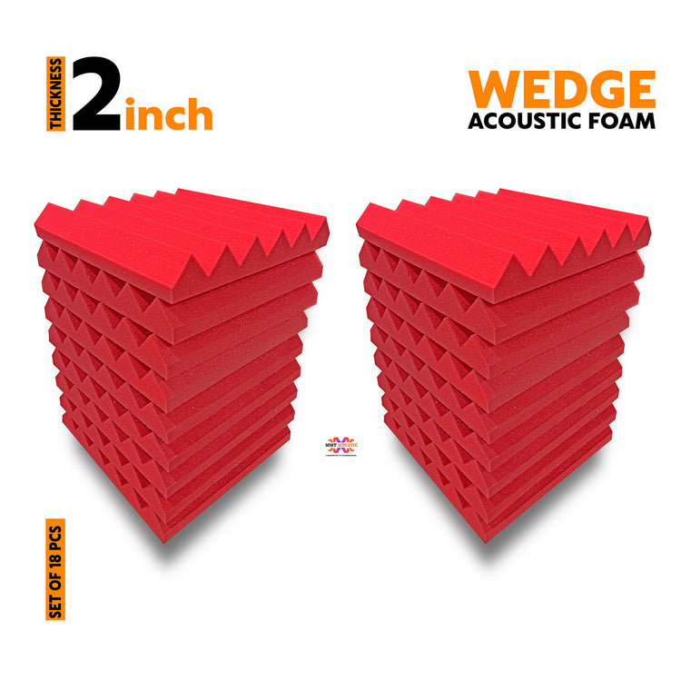 Wedge Acoustic Foam Panel, 1'x1' Flame Red ( Set of 18 )