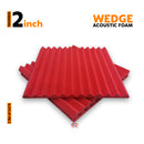 Wedge Acoustic Foam Panel, Flame Red, 2'x2' Set of 3 pcs