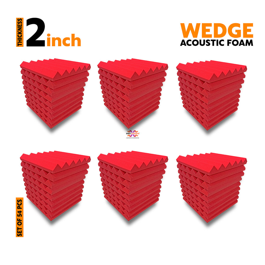 Wedge Acoustic Foam Panel, Flame Red, Set of 54 pcs