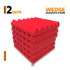Wedge Acoustic Foam Panel, Flame Red, Set of 6 pcs