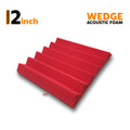 Wedge Acoustic Foam Panel, Flame Red, 1 pc