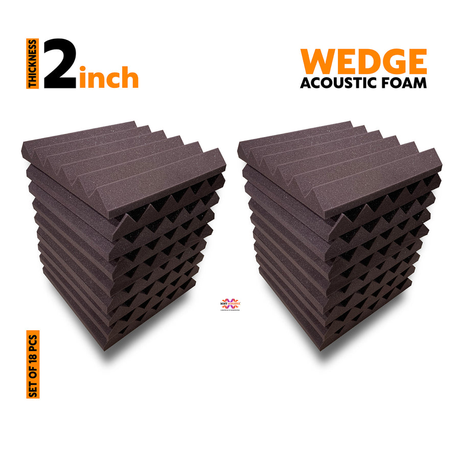 Wedge Acoustic Foam Panel, Wine, Set of 18 pcs