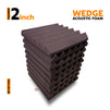Wedge Acoustic Foam Panel, Wine, Set of 9 pcs