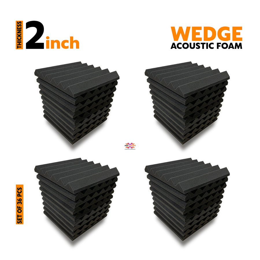 Wedge Acoustic Foam Panel, Pro Charcoal, Set of 36 pcs