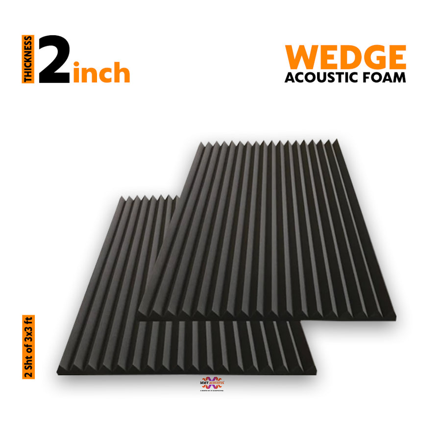 Wedge Acoustic Foam Panel, Pro Charcoal, 3'x3' Set of 2 pcs