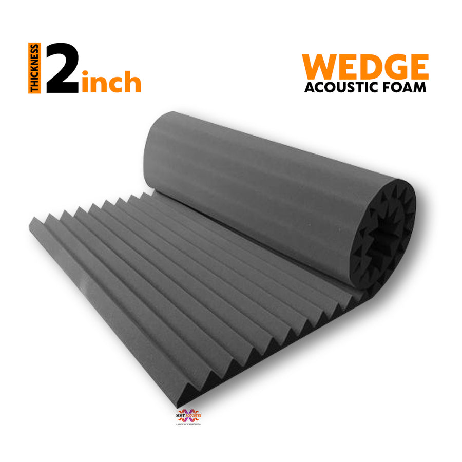 Wedge Acoustic Foam Panel, Pro Charcoal, 6'x3'
