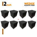 Wedge Acoustic Foam Panel, Pro Charcoal, Set of 72 pcs