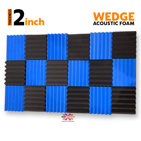 Wedge Acoustic Foam Panel, (Black + Blue), Set of 18 pcs