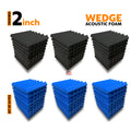 Wedge Acoustic Foam Panel, (Black + Blue), Set of 54 pcs