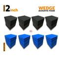 Wedge Acoustic Foam Panel, (Black + Blue), Set of 72 pcs