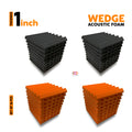 "Wedge Acoustic Foam Panel, (Black + Orange), 1"" Set of 36 pcs"