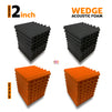 Wedge Acoustic Foam Panel, (Black + Orange), Set of 36 pcs