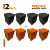 Wedge Acoustic Foam Panel, (Black + Orange), Set of 72 pcs