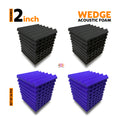Wedge Acoustic Foam Panel, (Black + Purple), Set of 36 pcs